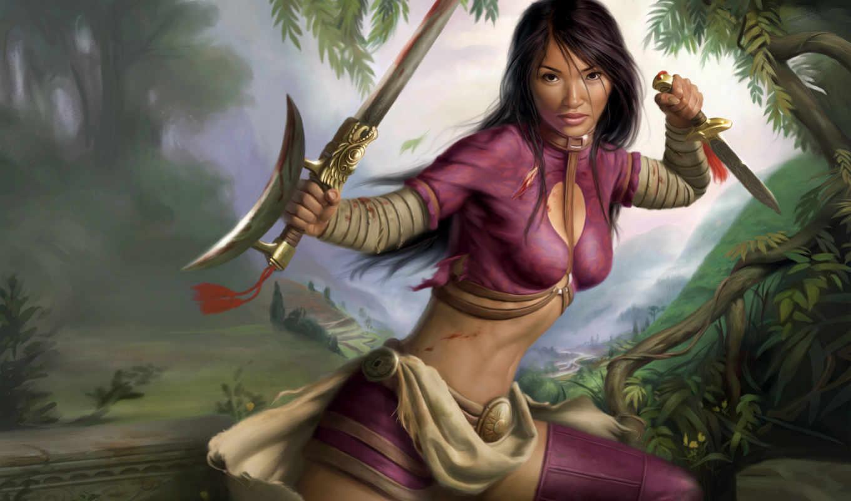 мечом, share, девушка, красивые,