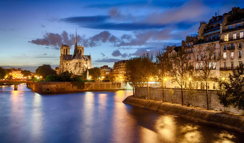 франция, париж, города, смотреть, ночь,