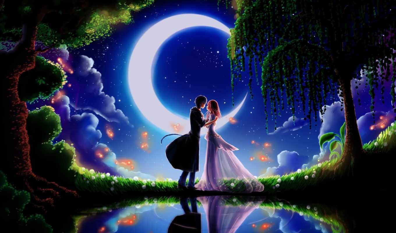 два, love, ночь, пара, луна, art, высоком,