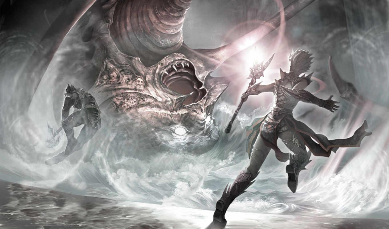 воин, эльф, битва, посох, маг, рисунок, fantasy, elfy,