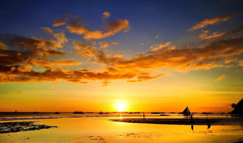 море, sailboat, закат, корабль,