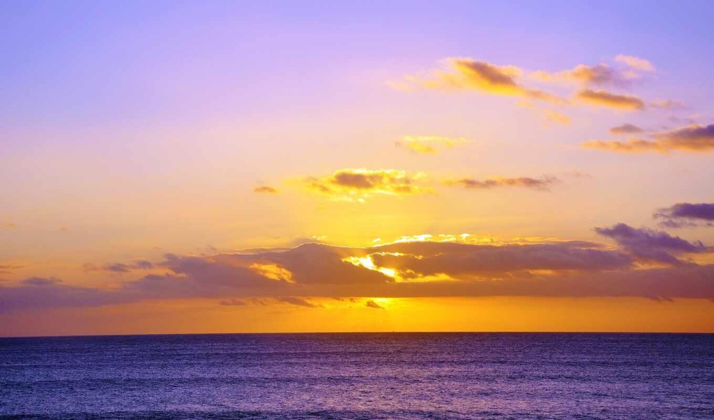 закат, ocean, природа, фон, фото