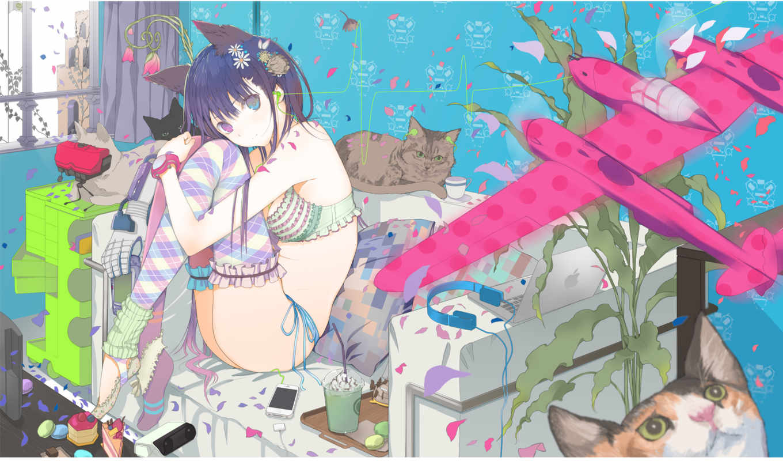 аниме, кошка, девочка, неко, настроение, комната, самолётик, картинка, картинку, мыши, кнопкой, арт, котики,