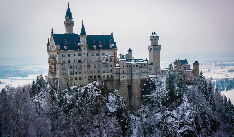 neuschwanstein, замок, зима, снег,