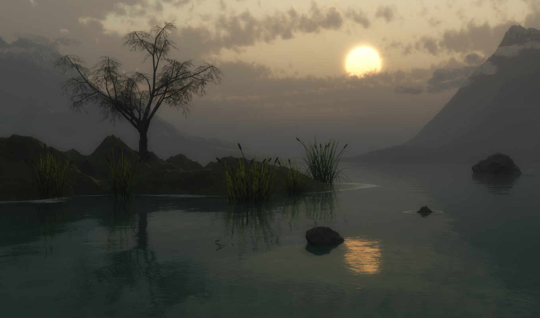 камыши, wallpaperz, sun, озеро, закат,