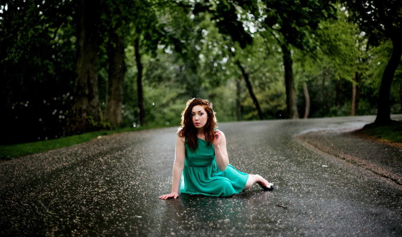 дождь, девушка, дорога,
