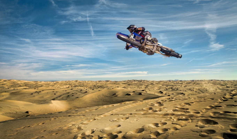 небо, мотоцикл, спорт, прыжок,