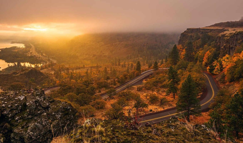 природа, гора, landscape, дорога, закат, небо, url,