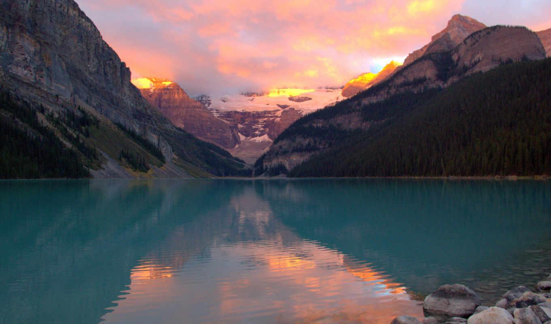 озеро, louise, июнь, views, закат,