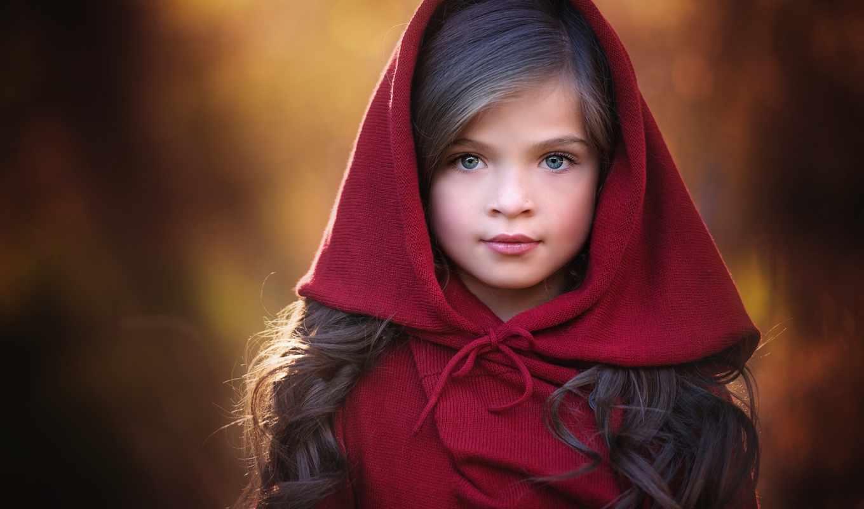 red, девушка, капюшон, очарование, little, катание, portrait, плаще, красном,