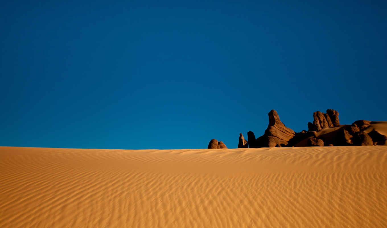 пустыня, сахара, песок, небо, скалы, алжир, флаг,