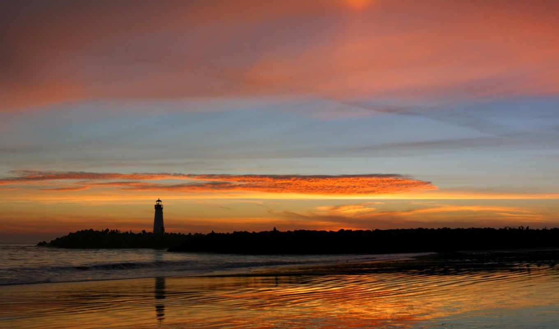 маяк, пейзажи -, landscape, море, часть,