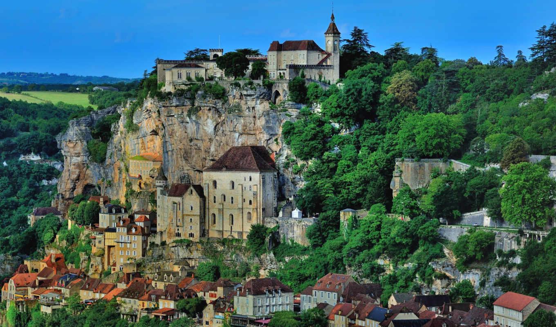 франция, rocamadour, дома, города, houses, реки, cities, roque, gageac,