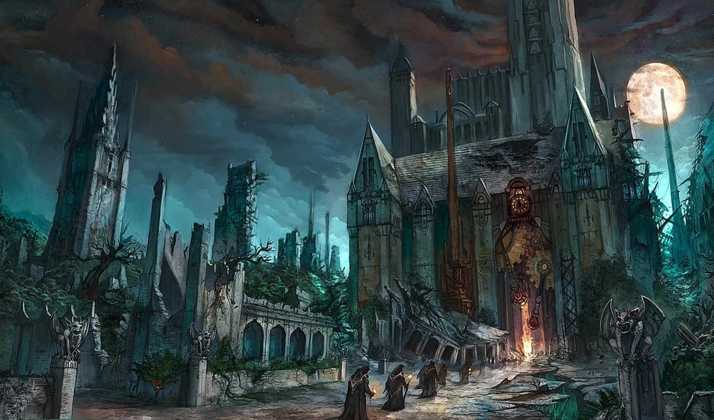 fantasy, храм, gothic, коллекция, girls, фантастика, развалины, луна,