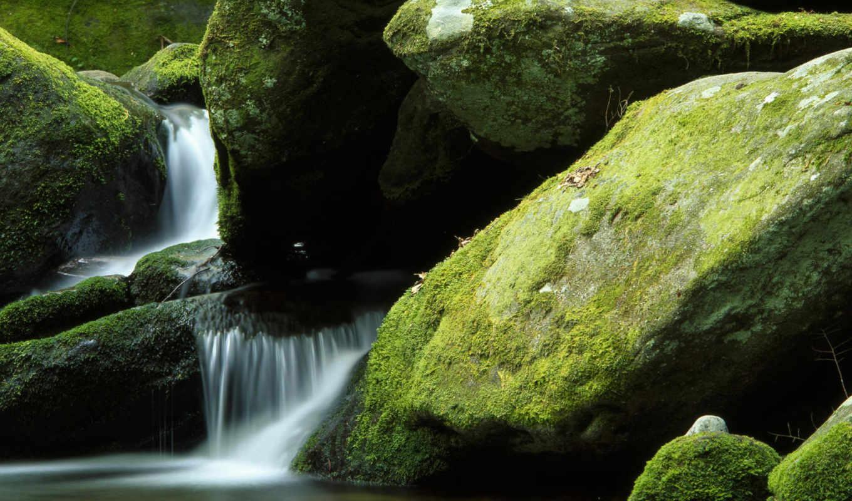 скалы, мох, ручей, water, природа, водопад,