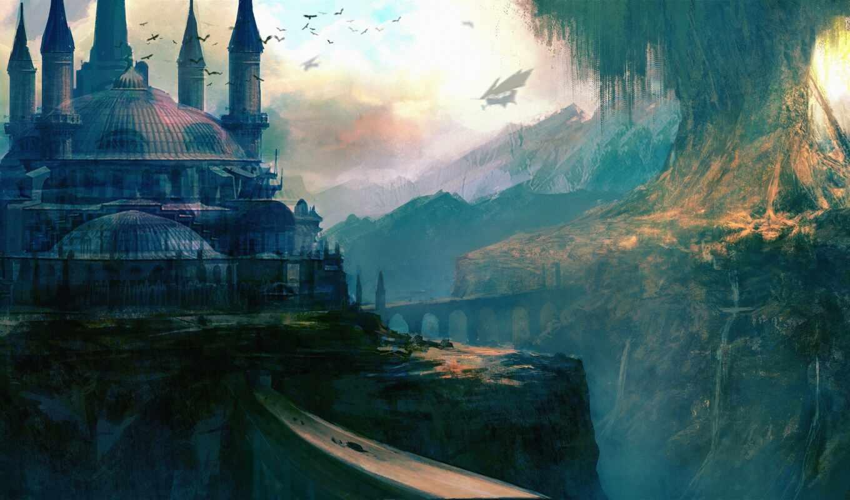 fantasy, art, castle, world, город, мост, дерево, deviantart,
