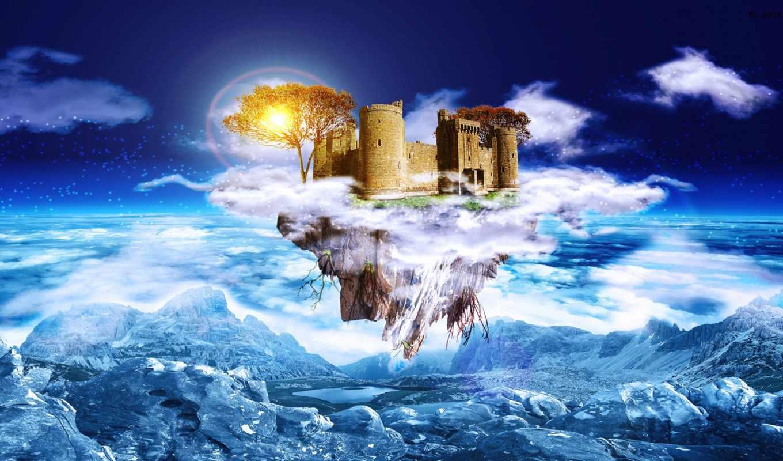 castle, dream, art, fantasy, digital, desktop,