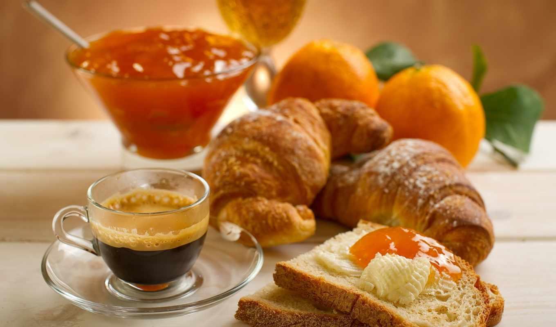 coffee, завтрак, cup, джем, круассаны, круассаны, персик,