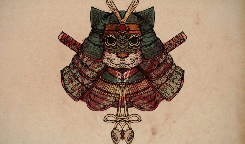 кот, самурай, drawing, gh, case, exhaust