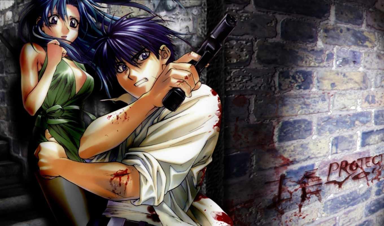 аниме, тревога, стальная, обои, metal, panic, пистолет, парень,девушка