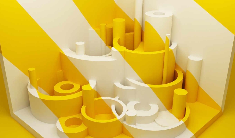 белый, желтый, город, графикой, фона, abstract, трехмерной, bananananana, with, cream,