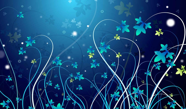 design, flowers, vector, blue,