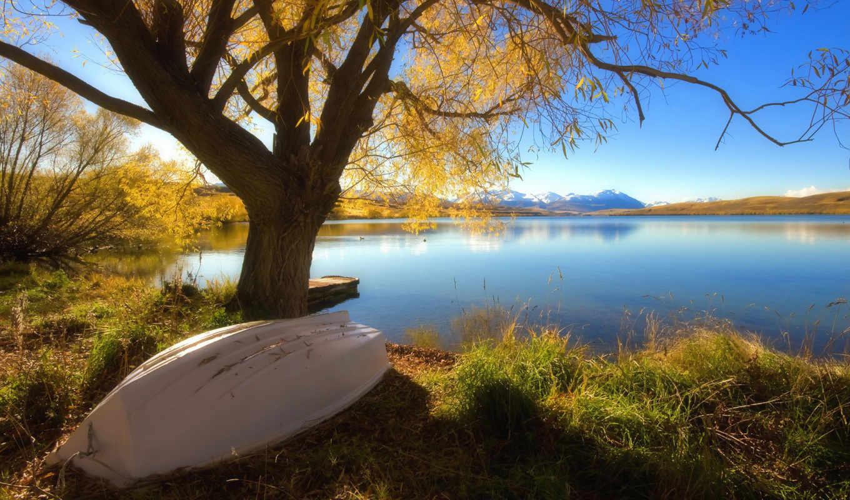 озеро, осень, дерево, горы, дек, лодка, горизонте, опаловое, гряда, горная,