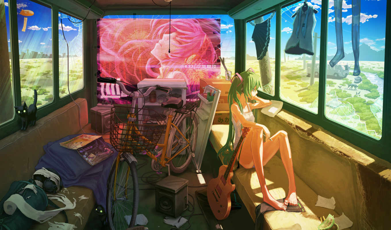 devushka, велосипед, гитара, vocaloid, hatsune, miku, одежда,