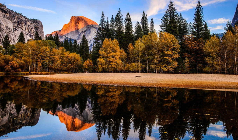 nemzeti, yosemite, park, горы, лес, осень