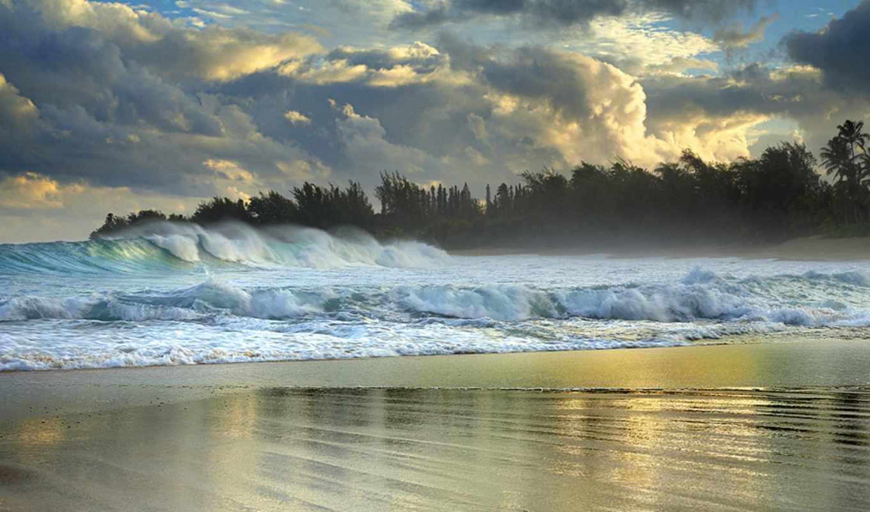 hawaii, waves, волна, сша, путешествия, побережья, берег, песок, ветер, изнутри,