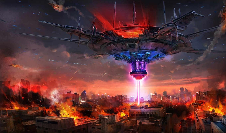 корабль, луч, здания, арт, разрушение, огонь, город,