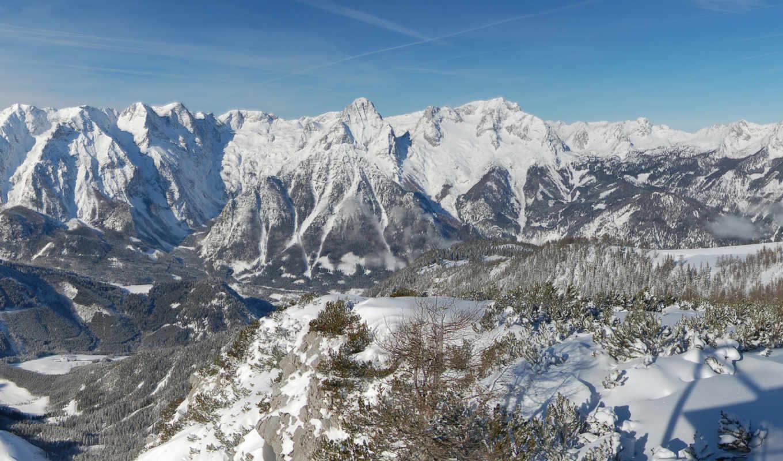 горы, австрия, высота, скалы, снег, небо, зима, деревья, земля,