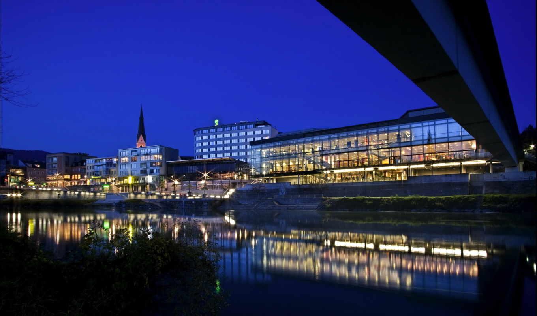 города, ночные, ночь, villach, небо, австрия,
