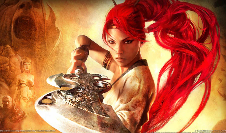 девушка, воин, heavenly, меч, оружие, взгляд,