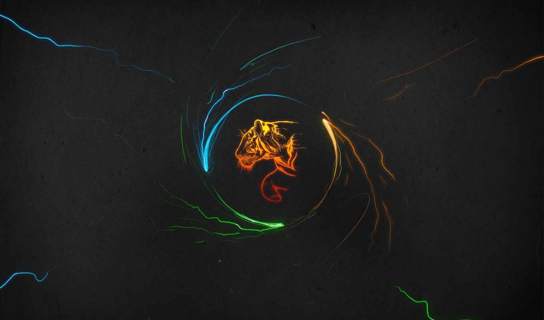 wallpaper, тигр, multicolor, tigers, минимализм, темы, minimal, spark, hd, orb, windows, темном, фоне,