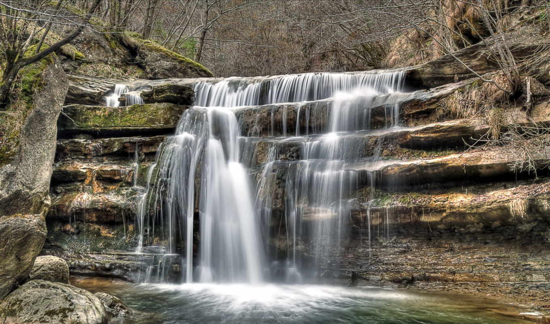 водопад, река, лес, природа, cascading, картинка, falls, бесплатные, картинку, камни,