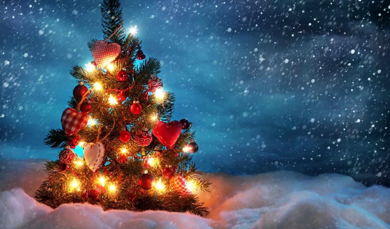 новогодняя, ночь, дерево, new, год, новогоднюю, дома, дек,