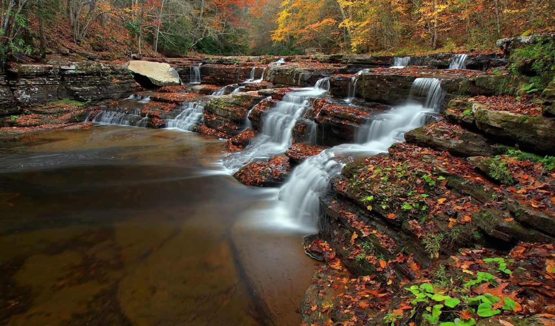 priroda, reka, les, osen, камни, разделе, каскады, ручей, марта, krasivo,