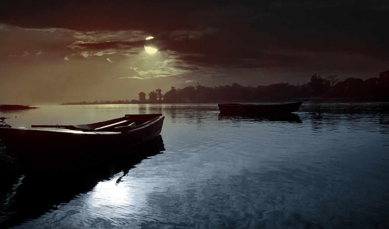 oblaka, sun, озеро, закат, лодки, небо, природа, луна,