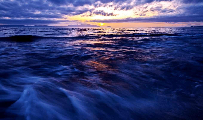 море, небо, горизонт, рисунок,