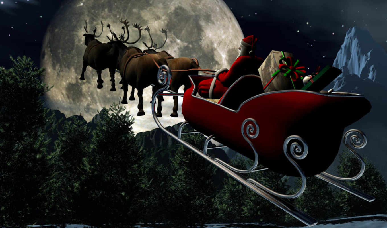Новогодние открытки дед мороз на санях с оленями, открыток