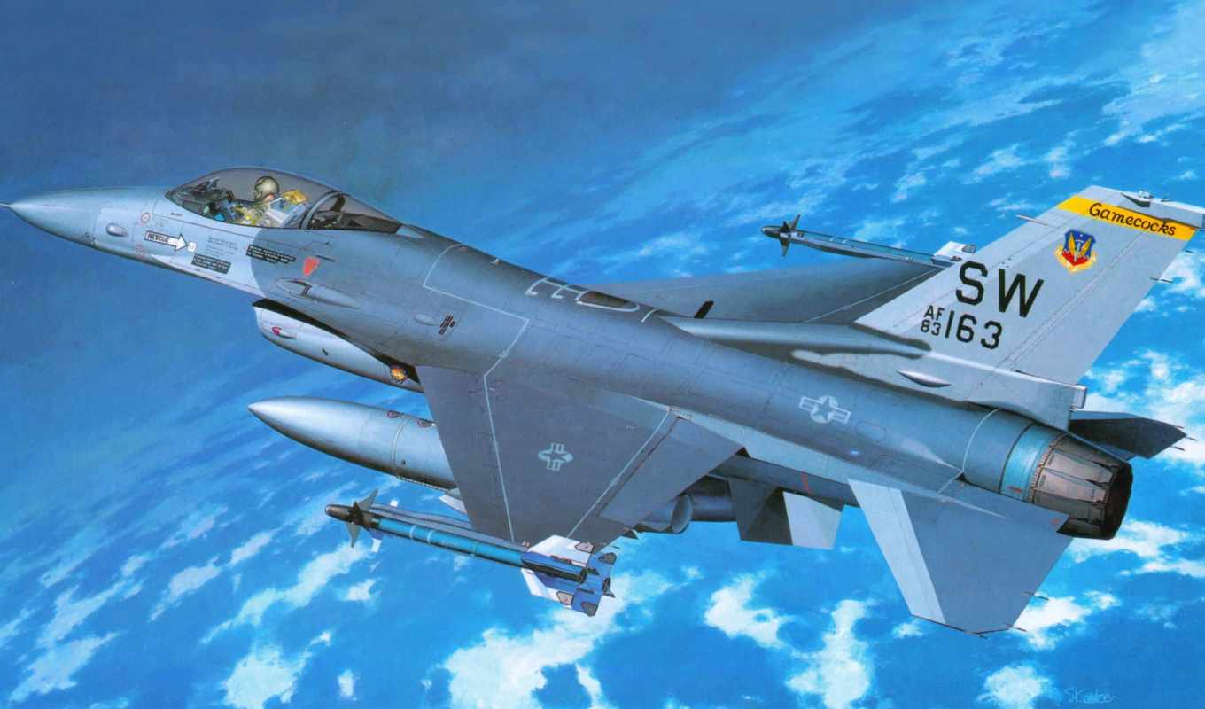 fighting, falcon, general, dynamics, hasegawa, самолёт, картинка, модульная,