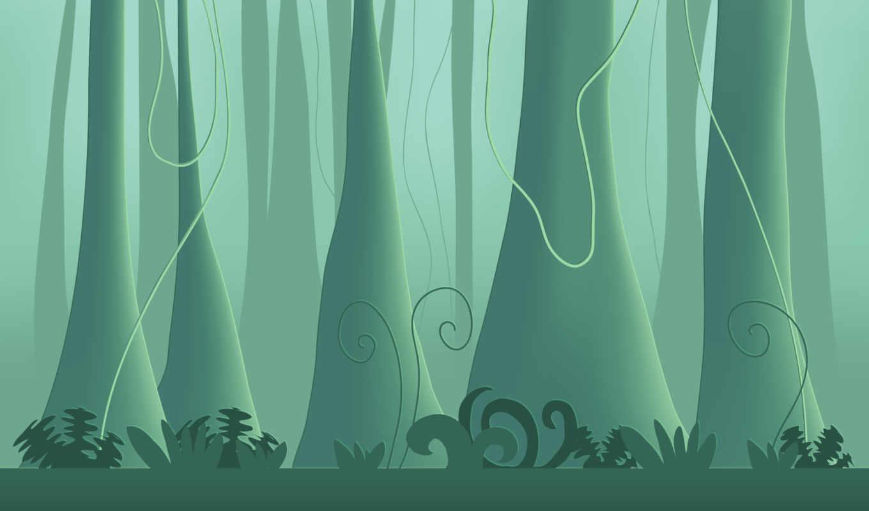 минимализм, джунгли, деревья, растения, дерво, леса, картинка, картинку,