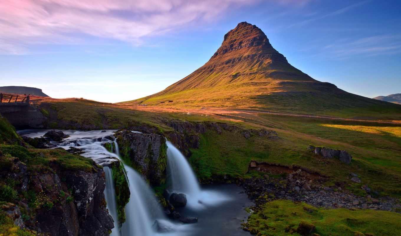 водопад, гора, пейзаж, река, kirkjufellsfoss, картинка, исландия,