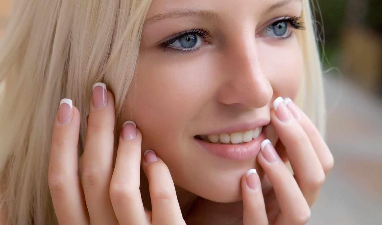 девушка, блондинка, улыбка, взгляд, глаза, голубые, ногти, картинку, маникюр, девушки, картинка, with, download, левой, мыши, parte, que, woman, resolution,