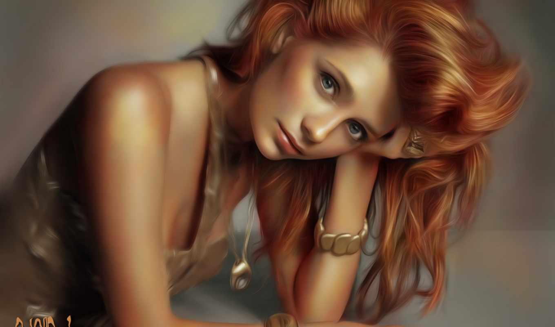 рыжие, волосы, девушка, взгляд, art, лицо, рука, mischa, barton,