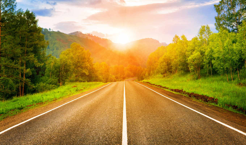 sun, дорога, лес, восход,