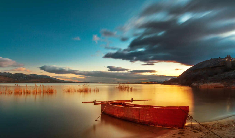 закат, река, den, природа, небо, бесплатный, волна, plus, лодка, mac