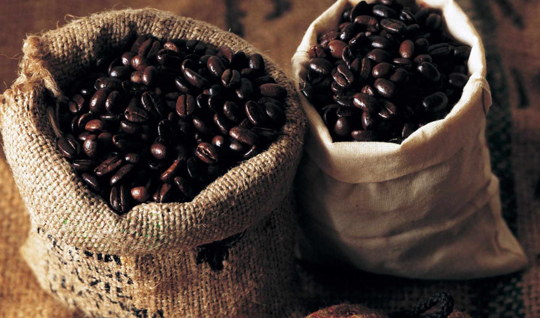 кофе, зерна, мешочки, beans, просмотреть, bags, кофейные, чашка,