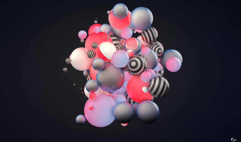 абстракция, полосы, шары, рендеринг, condezine, картинка, картинку,